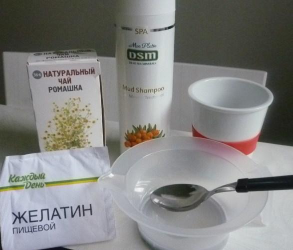 Ингредиенты для желатиновой маски для кудрей