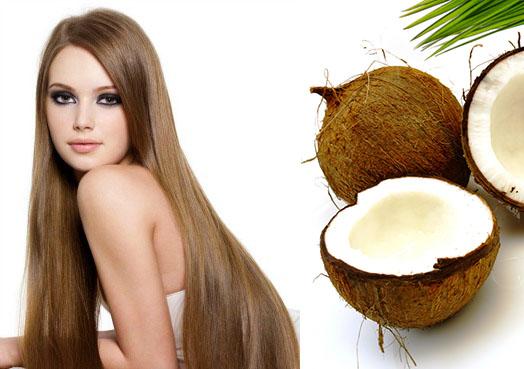 Девушка с длинными волосами и кокос