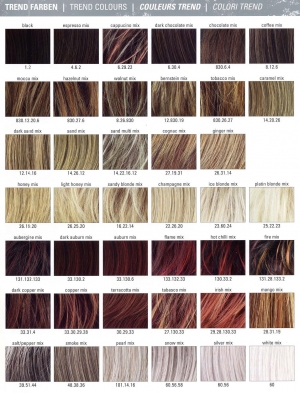 Палитра цветов волос