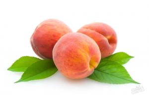 Три персика с листьями
